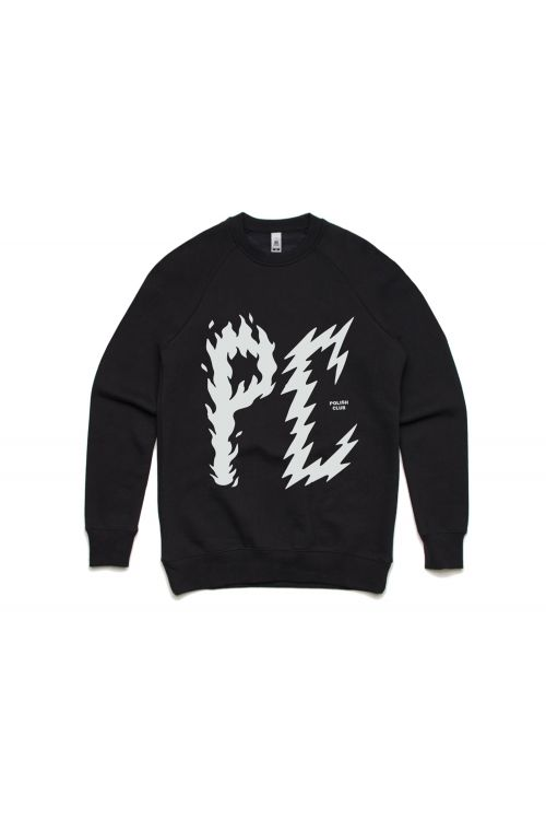 PC Bolt Writing Black Crew Sweatshirt by Polish Club